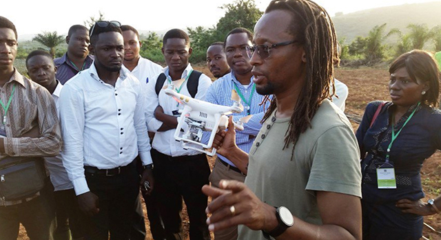 Freddie Mbuya introduces young agripreneurs to the use of a quadcopter to scout crops and farm infrastructure in Ghana